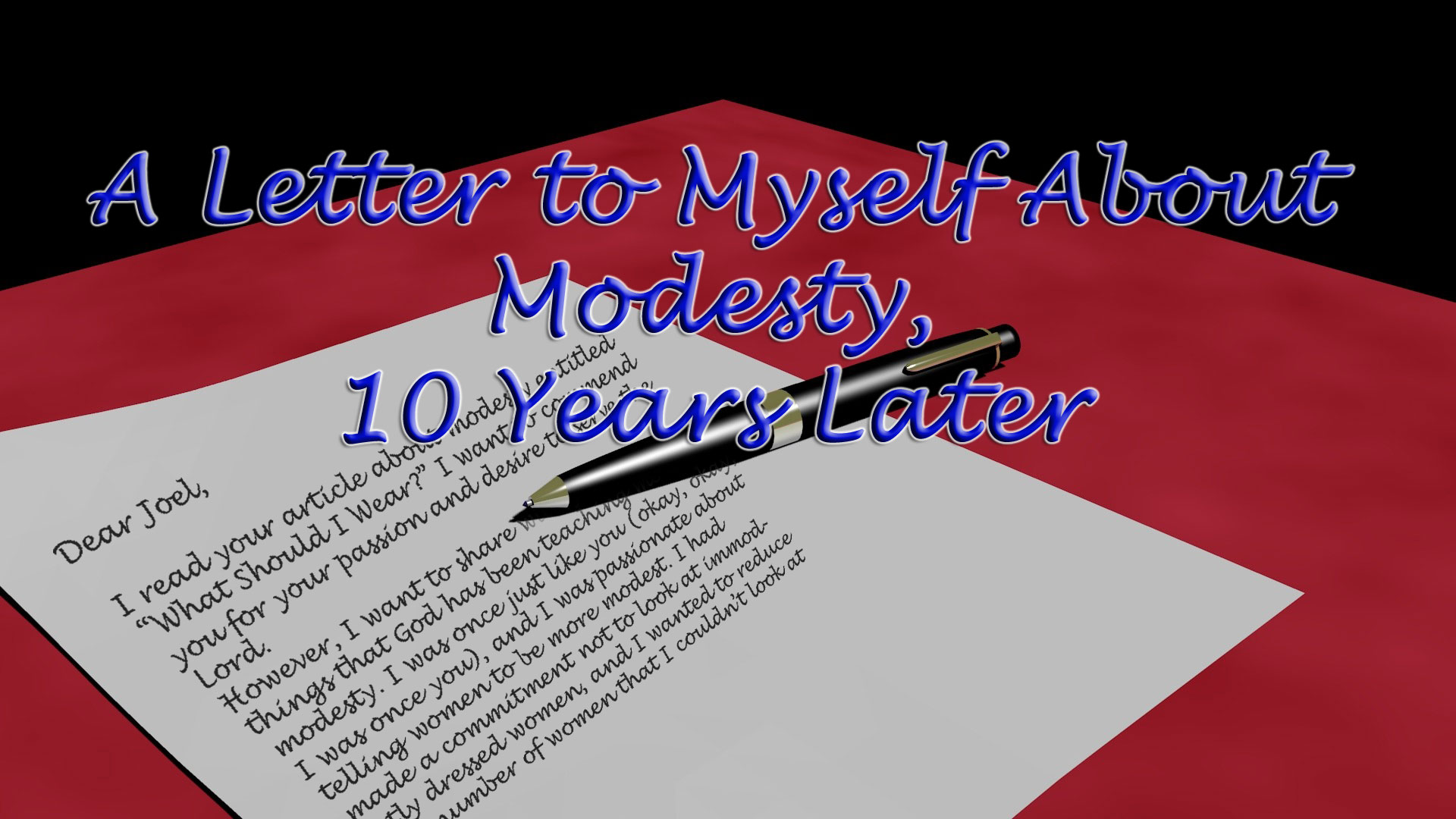 Modesty: A Letter to Myself