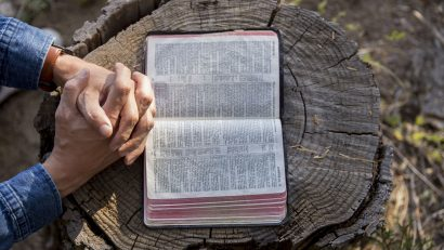 Praying over a Bible on a stump