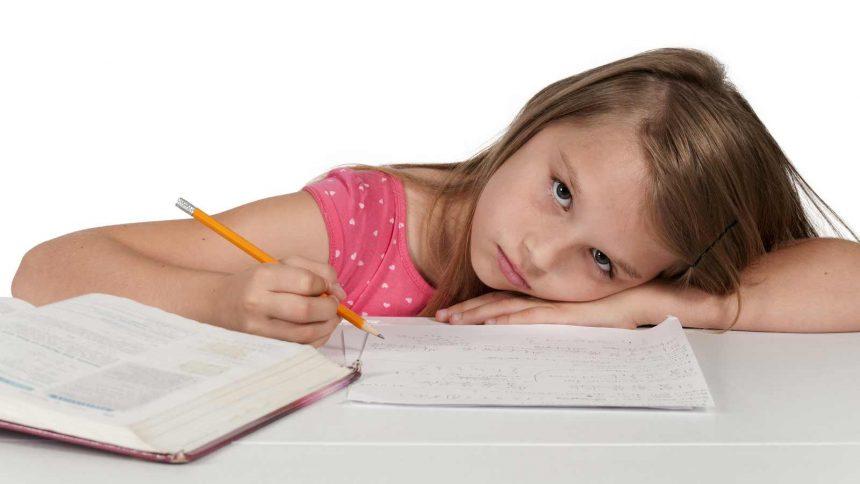Young girl doing homeschool work